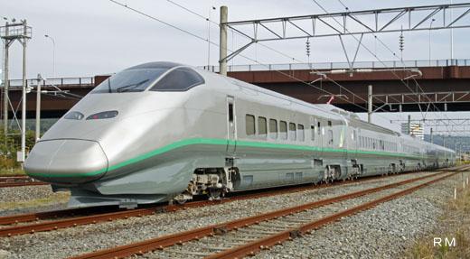 An E3-2000 series train for Yamagata Shinkansen of JR East. A 2008 debut.