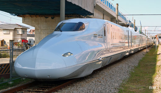 The N700-7000 series Shinkansen of West Japan Railway. Kyushu direct currency.