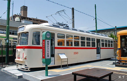 Streetcar No.5501 of Tokyo. The train which was produced based on an American PCC car.