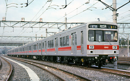 1000 series trains of Tokyu Corporation. A 1988 appearance.