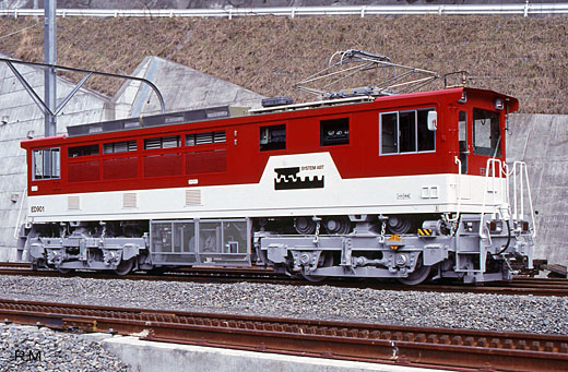 An Oigawa Railway ED90 type Abt system electric locomotive. A 1990 appearance.