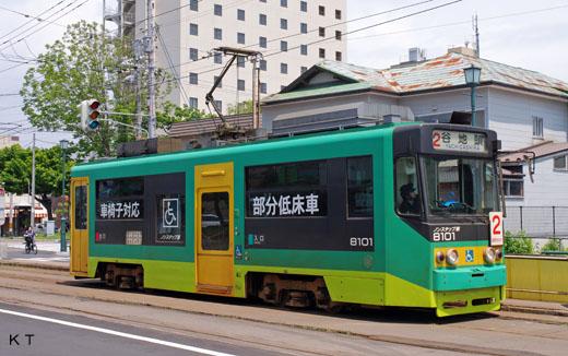 A Hakodate streetcar 8100 type partial low floor car. A 2002 debut.