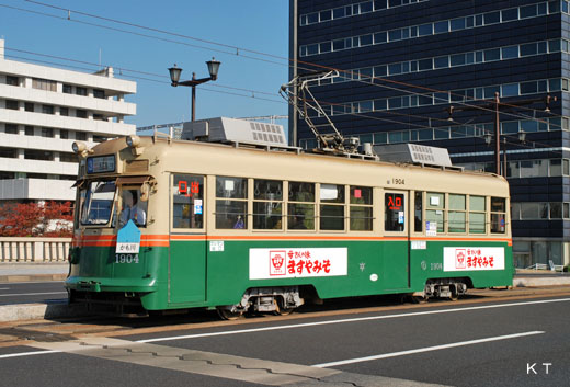The 1900 type streetcar of Hiroshima Electric Railway where I transferred to from Kyoto streetcar. It produces it in 1957.