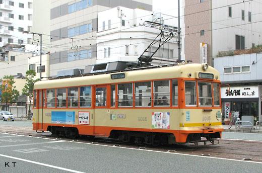 A MOHA-2000 type streetcar of Iyo Railway. Former Kyoto streetcar.