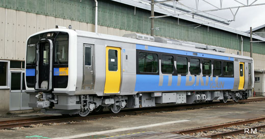 KIHA-E200 type which put the hybrid system that combined generation with a diesel engine with a battery to practical use. It runs in Koumi line of Nagano from summer, 2007.