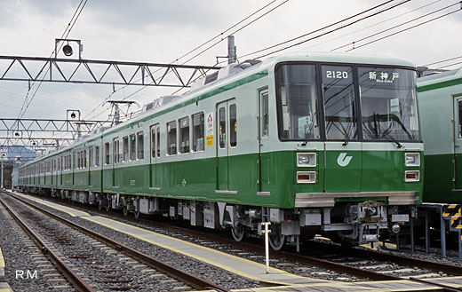The train of the Kobe-shi subway, 2000 series. A 1988 debut.