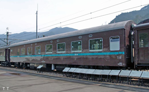 An ORONE-10 type sleeping-car of the Japanese National Railways. A 1959 debut.